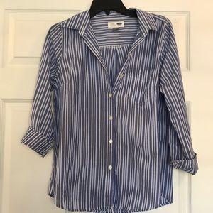Blue white stripe blouse size SMALL